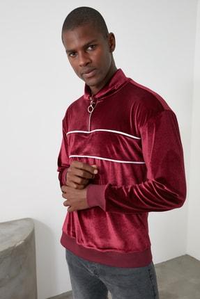 TRENDYOL MAN Bordo Erkek Panelli Fermuarlı Dik Yaka Regular Sweatshirt TMNAW21SW0363 1