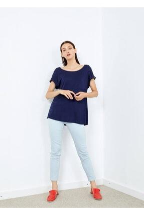 Adze Kadın Lacivert Omuz Düğmeli Basic Tişört 3