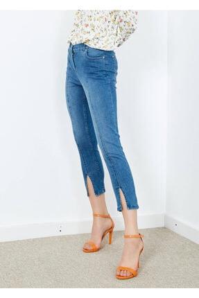 Adze Kadın Mavi 5 Cepli Pantalon Etek Detaylı Jean Pantalon 3