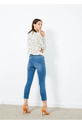 Adze Kadın Mavi 5 Cepli Pantalon Etek Detaylı Jean Pantalon 4