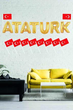 KullanAt Market Atatürk Türk Bayraklı Altın Folyo Balon Süsleme Seti 0