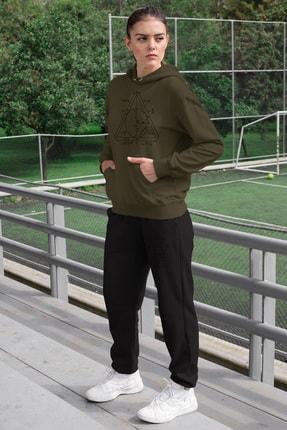 Angemiel Wear Geometrik Şekiller Kadın Eşofman Takımı Yeşil Kapşonlu Sweatshirt Siyah Eşofman Altı 0