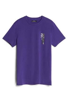 Bershka Erkek Mor Baskılı T-shirt 4