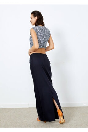 Adze Kadın Lacivert Uzun Yırtmaclı Etek 2