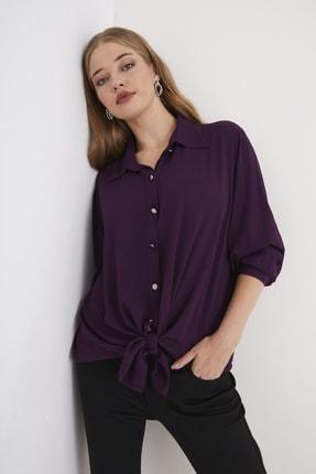 For Big Trend Kadın Gümüs Dügmeli Gömlek 1