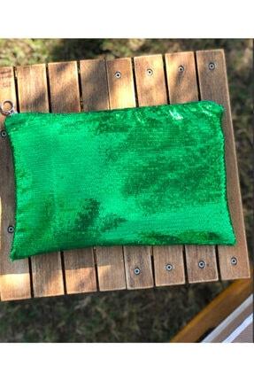 Yeşil Clutch Makyaj Cantası nila8890321