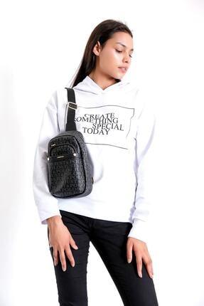 Just Polo Kadın Siyah Gri Renkte Baskılı Bodybag Ayarlanabilir Askılı Omuz Çantası 2