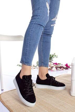 epaavm Kadın Siyah Beyaz Taban Süet Spor Ayakkabı 0