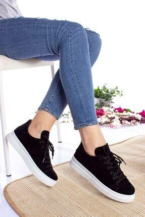 epaavm Kadın Siyah Beyaz Taban Süet Spor Ayakkabı 2