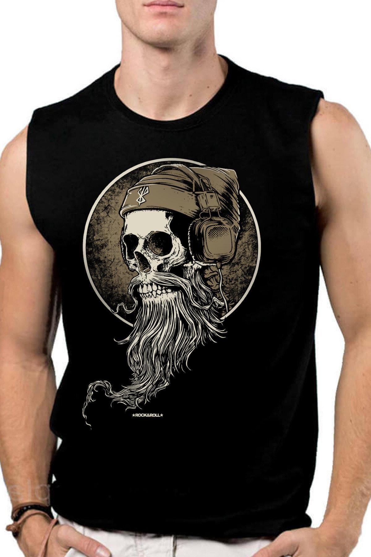 Sakallı Kurukafa Siyah Kesik Kol | Kolsuz Erkek T-shirt | Atlet