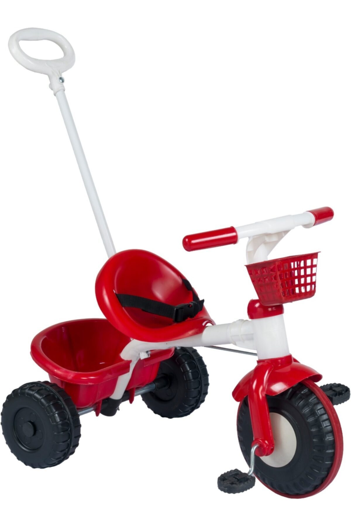 Unisex Çocuk Kırmızı Ebeveyn Kontrollü 3 Tekerlekli  Bisikleti