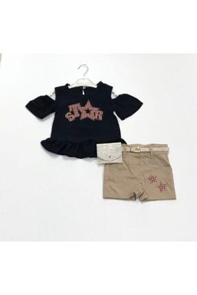 Star Kız Çocuk Lacivert Keten Bluz ve Şort Çantalı Takım 0