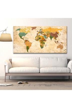 Plustablo Güncel Dünya Haritası Kanvas Tablo 50x100 Cm. 1