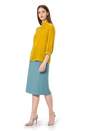 BİRELİN Kadın Sarı Truvakar Kol Kadife Bluz 2