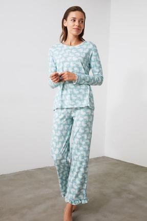 TRENDYOLMİLLA Mint Baskılı Örme Pijama Takımı THMAW21PT0247 2