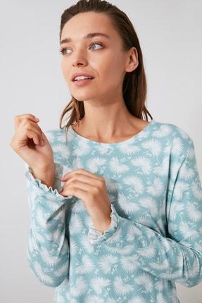TRENDYOLMİLLA Mint Baskılı Örme Pijama Takımı THMAW21PT0247 1
