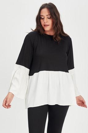 Moda Cazibe Kadın Siyah Krem İspanyol Kol Poplin Tunik 1
