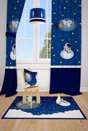 MEKTA HOME Astronot Uzay Spacex Çocuk Ve Bebek Odası Fon Perdesi 2 Kanat Mkt-151 0