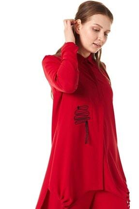 Nihan Kadın Kırmızı Pantolonlu Tunik Takım 0