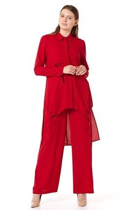 Nihan Kadın Kırmızı Pantolonlu Tunik Takım 2