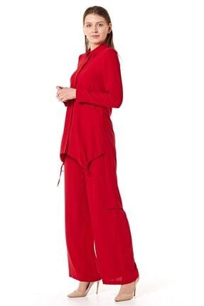 Nihan Kadın Kırmızı Pantolonlu Tunik Takım 3