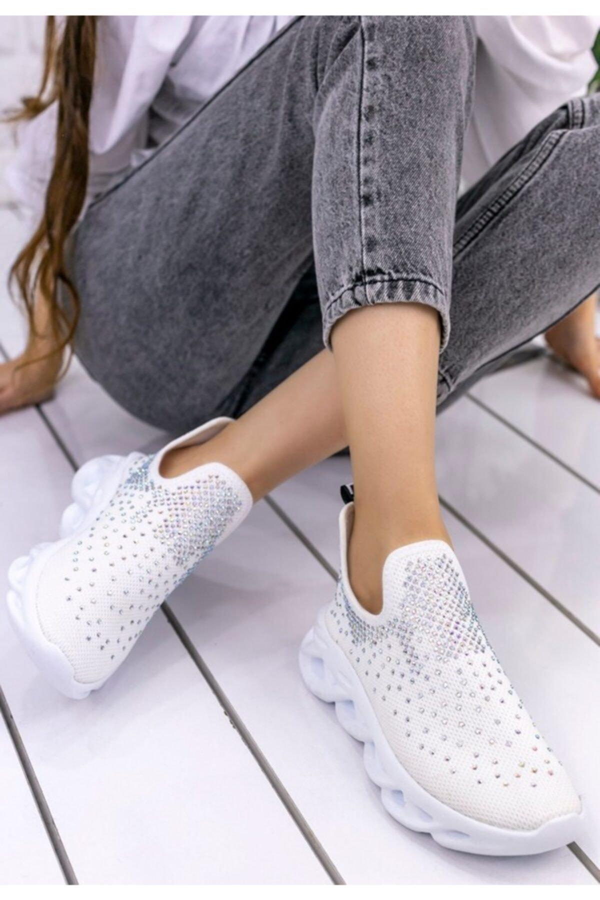 pabucmarketi Kadın Beyaz Spor Ayakkabı Er028