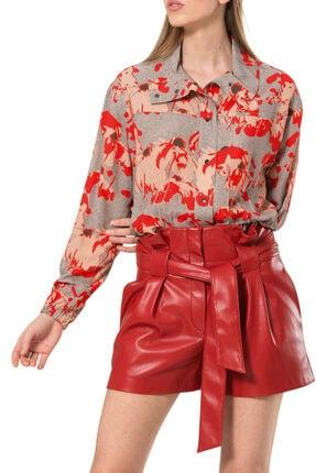 BİRELİN Kadın Kırmızı Dik Yaka Beli Lastikli Bluz 1