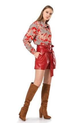 BİRELİN Kadın Kırmızı Dik Yaka Beli Lastikli Bluz 2