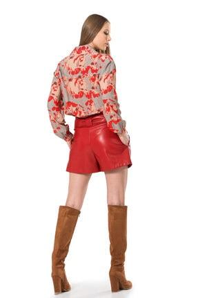 BİRELİN Kadın Kırmızı Dik Yaka Beli Lastikli Bluz 3