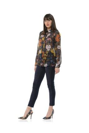 BİRELİN Kadın Lacivert Fleural Bluz 1