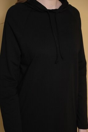 Carlamia Kadın Siyah Kapüşonlu Eteği Bağcıklı Sweatshirt 4