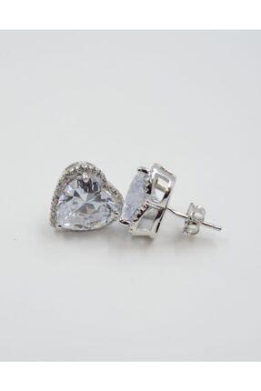 Swarovski Kalp Desenli Beyaz Zirkon Taşlı 925 Ayar Gümüş Kadın Küpe 1
