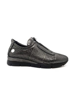 Mammamia Kadın Siyah-Platin Hakiki Deri Günlük Ayakkabı 0