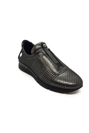 Mammamia Kadın Siyah-Platin Hakiki Deri Günlük Ayakkabı 1