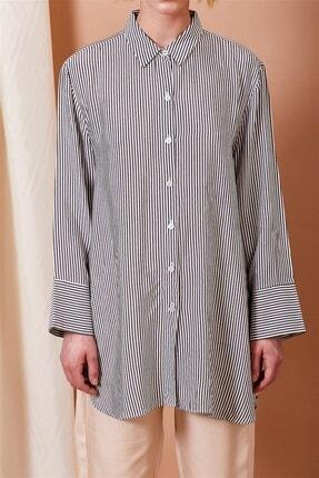Alvina Moda Kadın Siyah Beyaz Çizgili Oversize Gömlek 2