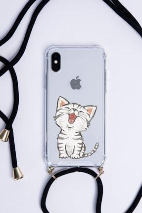 POFHİ Huawei P30 Lite Sevimli Kedi Siyah Askılı Telefon Kılıfı 0