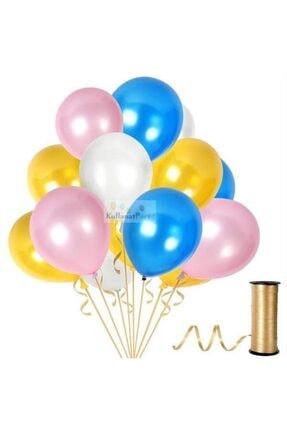 KullanAtParty Metalik Sedefli Parti Balonları Beyaz Pembe Karışık-100 Adet 3