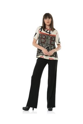 BİRELİN Kadın Bej Dantel Detaylı Desenli Bluz 0