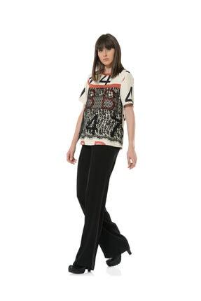 BİRELİN Kadın Bej Dantel Detaylı Desenli Bluz 1