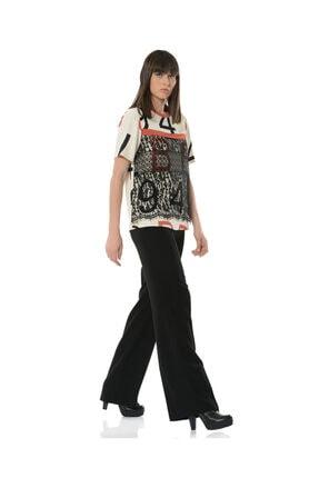 BİRELİN Kadın Bej Dantel Detaylı Desenli Bluz 2