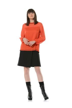 BİRELİN Kadın Kiremit Kontrast Dikiş ve Kadife Şerit Detaylı Uzun Kollu Bluz 0