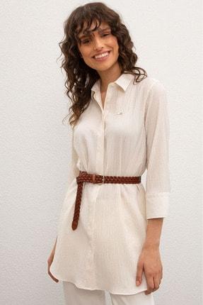 US Polo Assn Beyaz Kadın Dokuma Gömlek 0