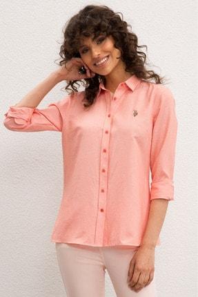 US Polo Assn Pembe Kadın Dokuma Gömlek 0