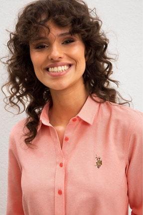 US Polo Assn Pembe Kadın Dokuma Gömlek 1