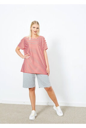 Adze Kadın Kırmızı Çizgili T-Shirt 1