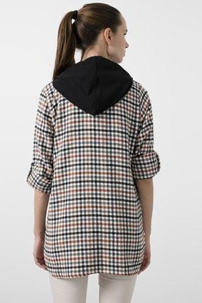 Lela Kadın Siyah Cepli Kare Desenli 59120921kare Düğme Kapamalı Kapüşonlu Gömlek 4