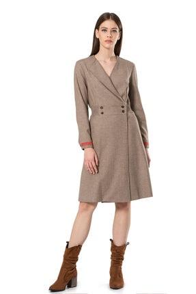 BİRELİN Kadın Bej Keçe Nakış Detaylı Elbise 0
