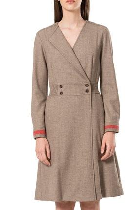 BİRELİN Kadın Bej Keçe Nakış Detaylı Elbise 1