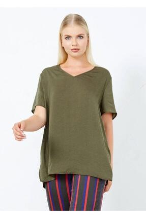 Adze Kadın Haki V Yaka Yan Yırtmac Basic Bluz Hakı M 4