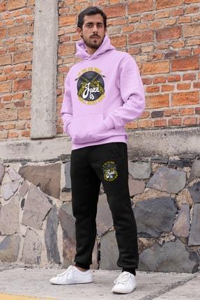 Angemiel Wear Jazz Ve Saksafon Erkek Eşofman Takımı Pembe Kapşonlu Sweatshirt Siyah Eşofman Altı 0